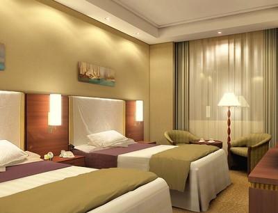 69平米都市时尚宾馆卧室窗帘装修效果图