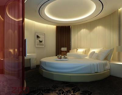 70平米清新酒店卧室背景墙装修效果图