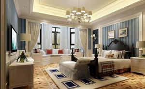 美式风格精致典雅卧室飘窗装修效果图