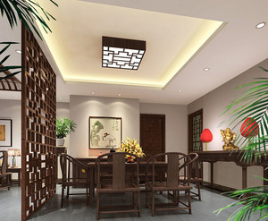 中式风格别致餐厅隔断装修效果图