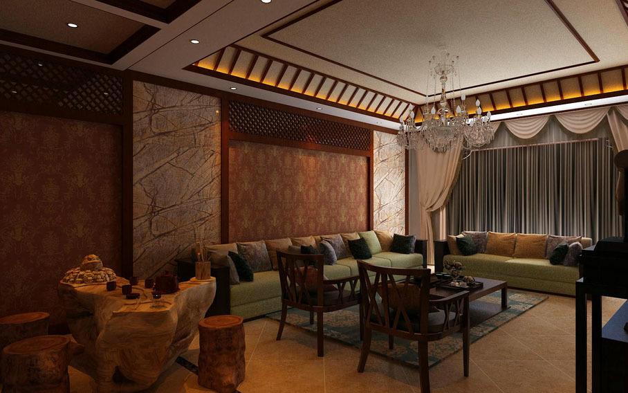 2016年新款中式风格特色客厅足彩导航效果图