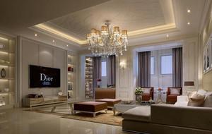 時尚大戶型歐式風格客廳吊頂設計裝修效果圖