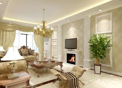 100平米簡歐風格客廳電視背景墻裝修效果圖