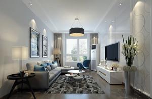 70平米都市简约风格室内客厅电视背景墙装修效果图