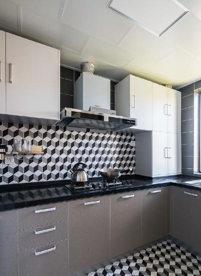 時尚簡約廚房墻磚裝修效果圖