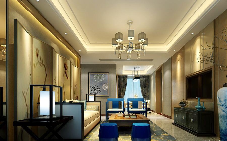 新中式风格别墅客厅装修效果图赏析