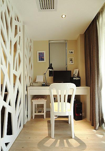 12平米簡歐風格書房客廳隔斷設計裝修效果圖