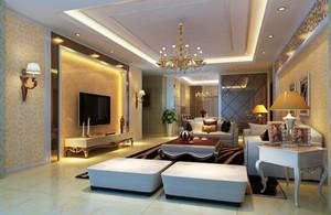 大户型简欧风格客厅灯具装修效果图赏析