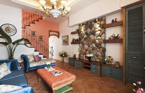 美式乡村风格别墅客厅电视背景墙设计效果图