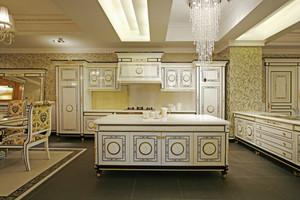 法式風格別墅開放式廚房櫥柜效果圖鑒賞