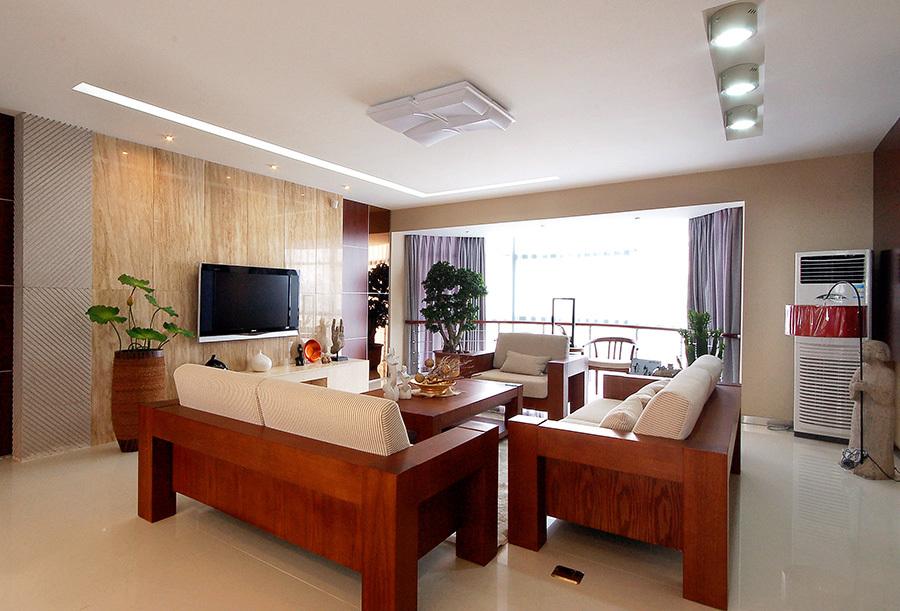 现代中式风格红木家具两室一厅一卫装修效果图赏析