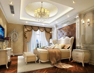 欧式风格别墅卧室圆形吊顶效果图鉴赏