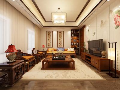 新中式风格客厅吊顶设计装修效果图