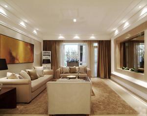 后现代风格三居室客厅窗帘设计装修效果图