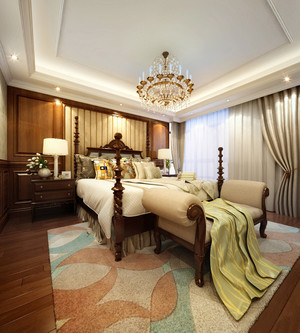 卧室 美式 窗帘 大户型足彩导航