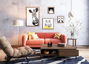 都市清新风格小户型客厅照片墙装修效果图
