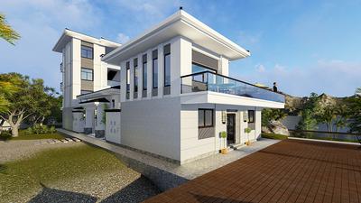 300平米现代简约风格独栋别墅户型图效果图