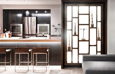 110平米后現代風格廚房客廳隔斷設計效果圖鑒賞