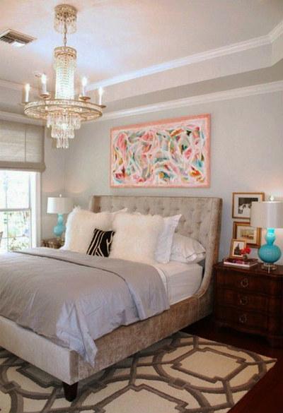 31平米簡歐風格臥室背景墻裝修設計效果圖