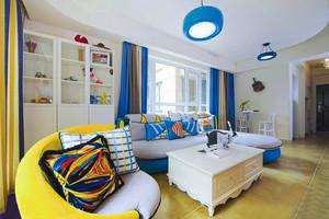 明亮舒適小戶型地中海風格客廳窗簾設計效果圖