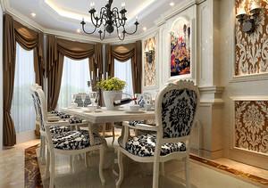 奢华欧式风格大户型餐厅窗帘设计效果图鉴赏