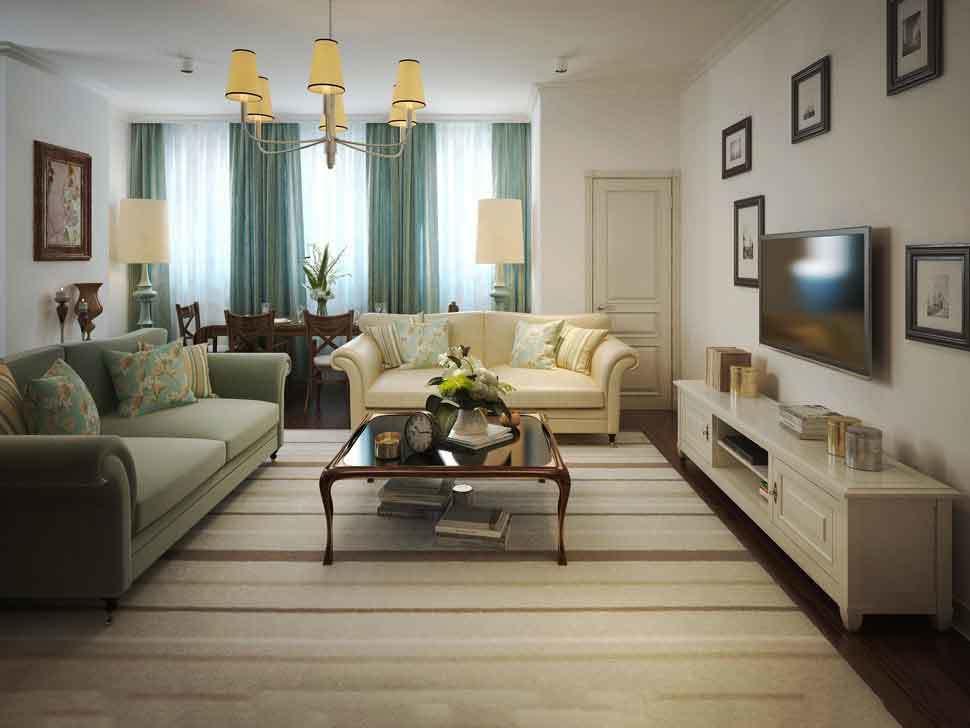 简约新中式风格客厅窗帘设计足彩导航效果图