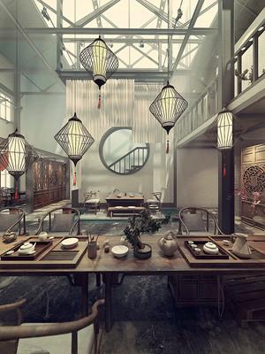 110平米中式风格雅韵茶楼设计装修效果图