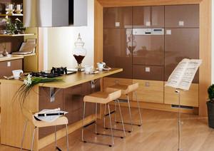 现代风格精致开放式厨房吧台装修效果图