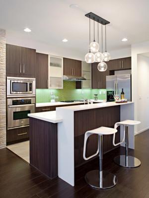 现代风格两居室开放式厨房吧台装修效果图赏析