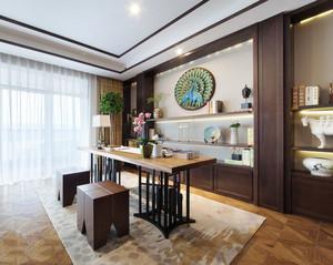 簡約中式風格大戶型室內書房博古架裝修效果圖