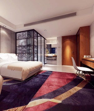 58平米现代风格精致酒店客房装修实景图