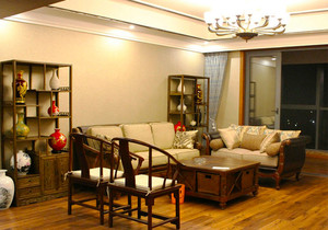 中式風格大戶型精致客廳博古架設計裝修效果圖