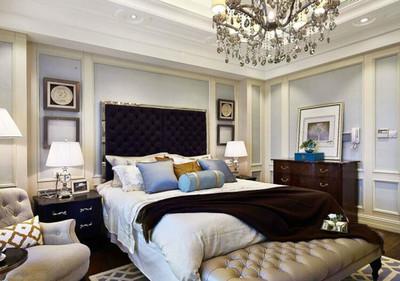 簡歐風格精致臥室背景墻裝修效果圖案例