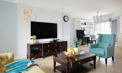 簡歐風格精致客廳電視背景墻裝修效果圖賞析
