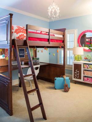 美式风格精致双层床儿童房装修效果图