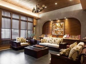 東南亞風格大戶型精美客廳背景墻裝修效果圖