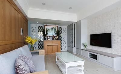 簡歐風格溫馨簡潔客廳電視背景墻裝修效果圖