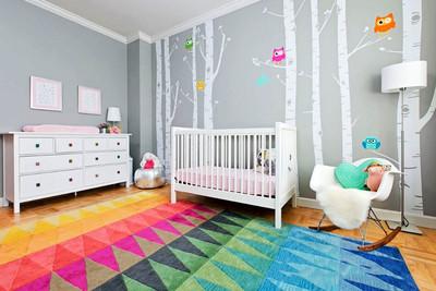 简欧风格清新甜美婴儿房设计装修效果图