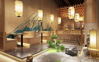 经典日式风格餐厅设计装修效果图