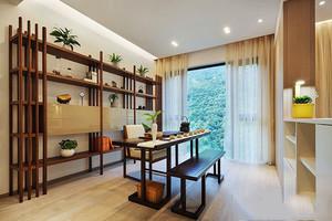 新中式風格精致書房博古架設計裝修效果圖