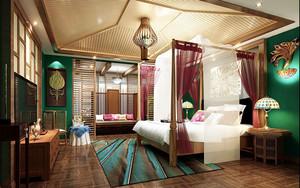東南亞風格精致酒店客房裝修效果圖