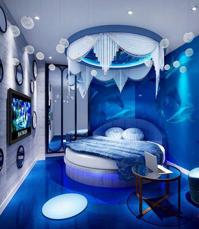 地中海风格蓝色酒店客房装修效果图