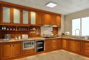新中式风格棕色厨房橱柜装修效果图