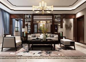 中式風格客廳博古架隔斷設計裝修效果圖