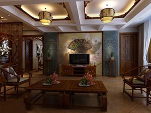 中式风格古典客厅灯具装修效果图