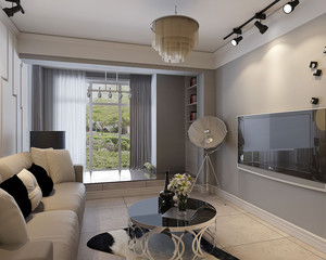 现代简约客厅窗帘效果图欣赏