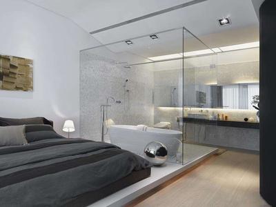 主卧卫生间玻璃墙图片