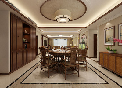 新中式客厅吊顶装修效果图