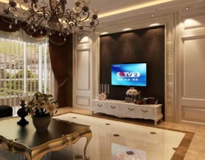 100平簡歐風格客廳電視背景墻裝修效果圖