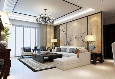 新中式客厅方形吊顶装修效果图